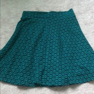 Blue and black pattern skater skirt